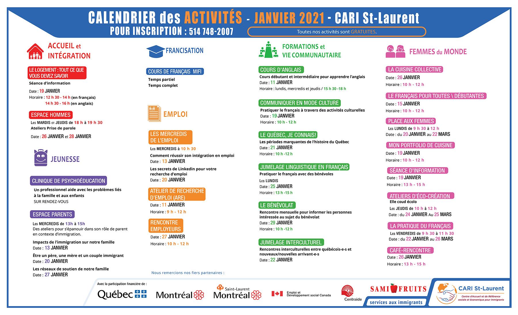Calendrier des activités Janvier 2021