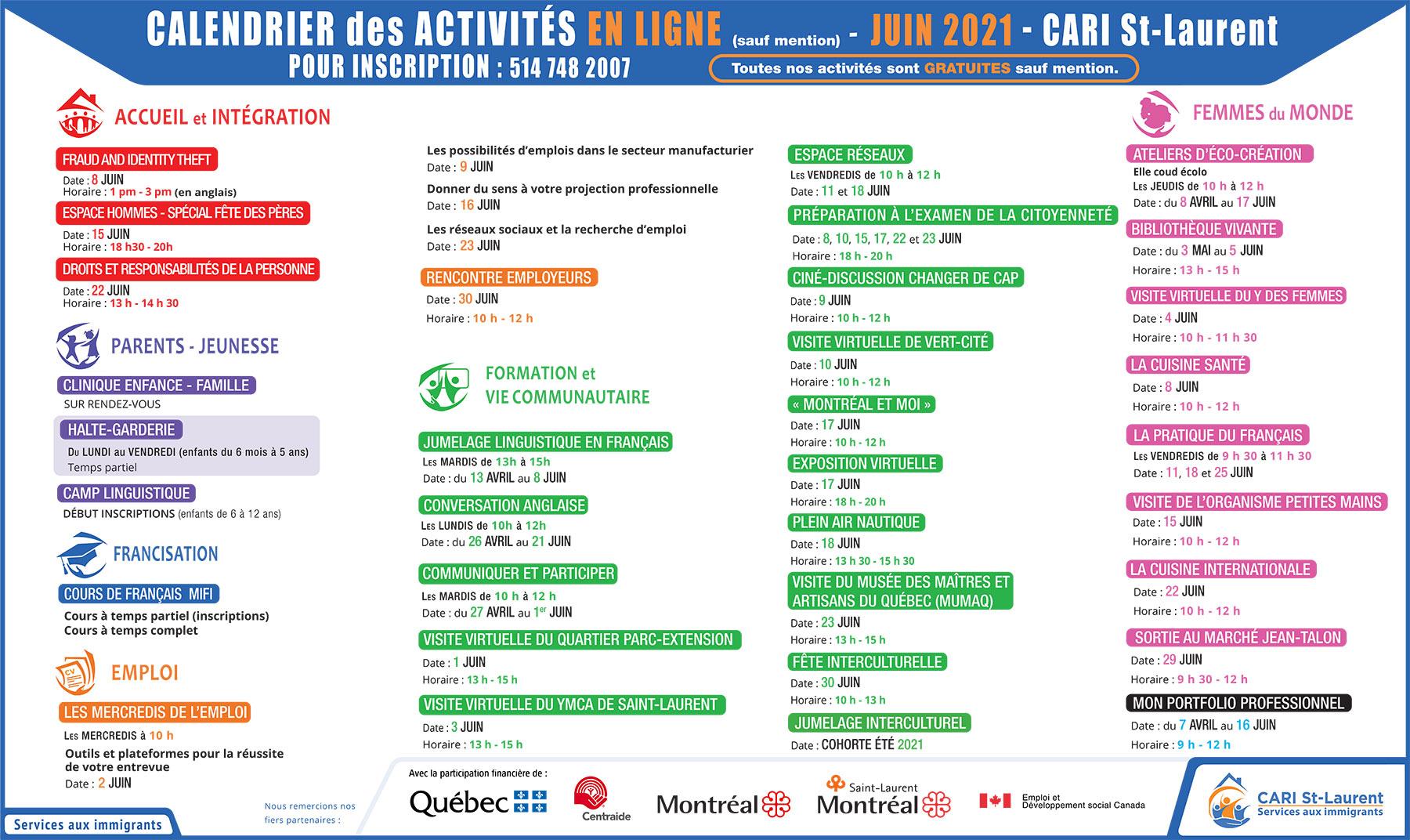 Calendrier des activités | JUIN 2021