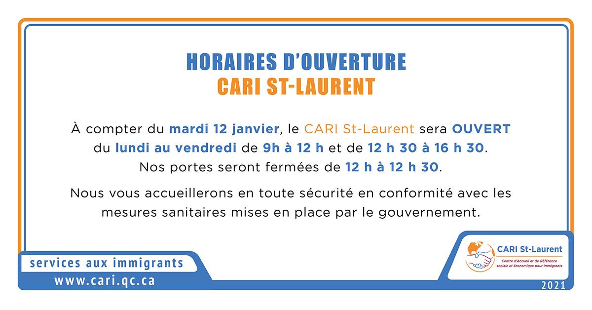 Horaires CARI St-Laurent